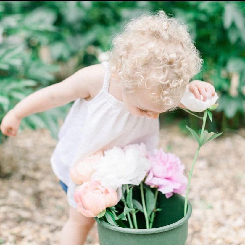 baby, garden, peonies, flower