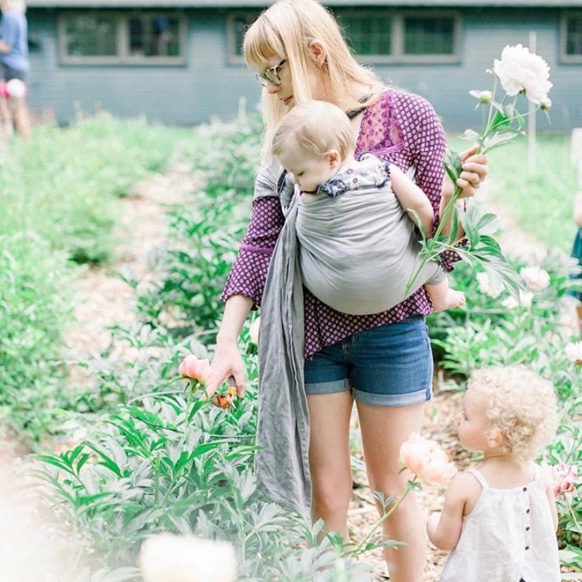 mother, children, gardening, flower picking, peonies