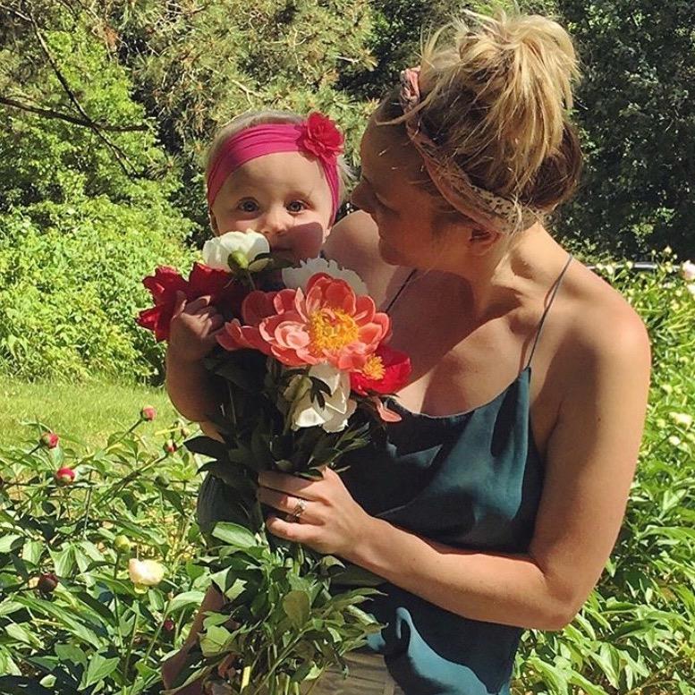 motherhood, babies, peonies, flower garden
